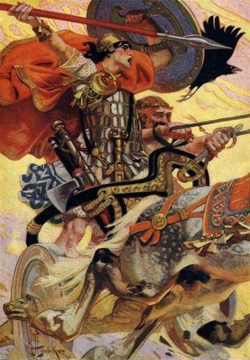 Cú Chulainn in battle, from T. W. Rolleston, Myths and Legends of the Celtic Race, 1911; illustration by Joseph Christian Leyendecker